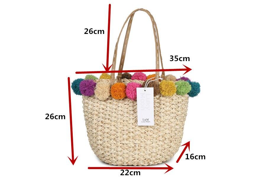 ④Rafia bolsa de playa hecha a mano POM bola mano Bolsas cestas de ...