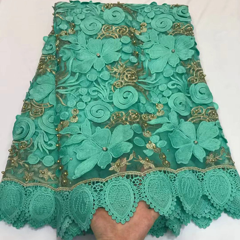33dfd02110 African Lace Fabric 2018 High Quality Nigerian Lace Fabric With Gold Beaded  Embroidery Tulle French Lace for Wedding DS347