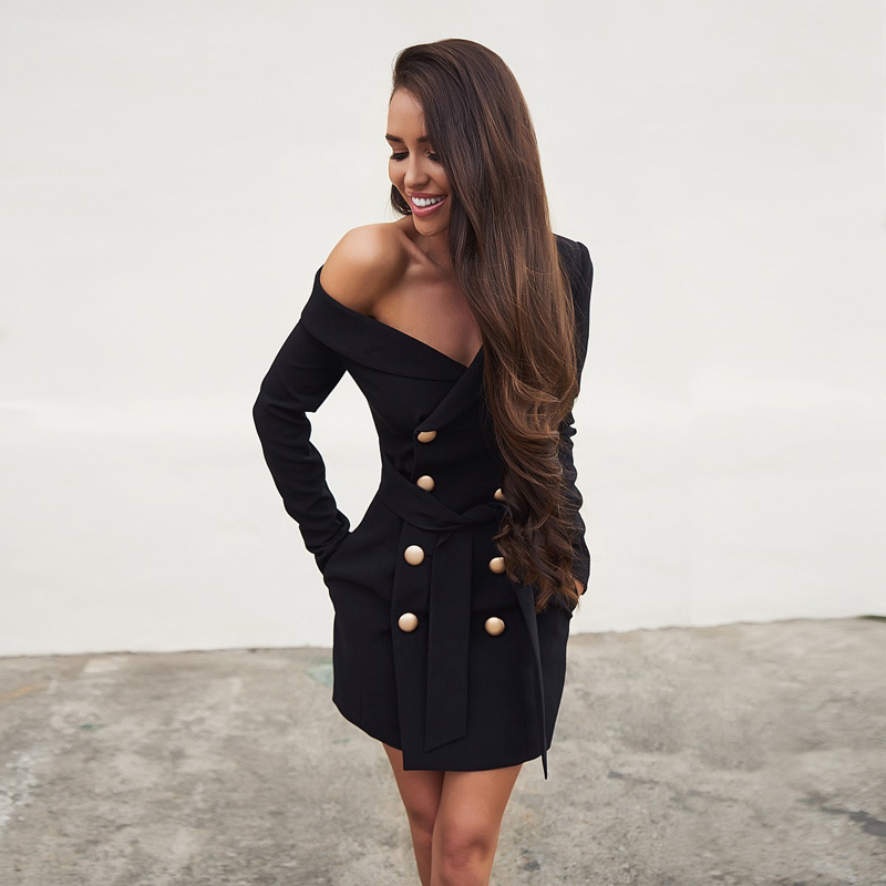 New Fashion Autumn Style Collection Black Long Sleeve Women Suit Dress Party Club Sexy Dress Outfit Ladies Dresses Wholesale