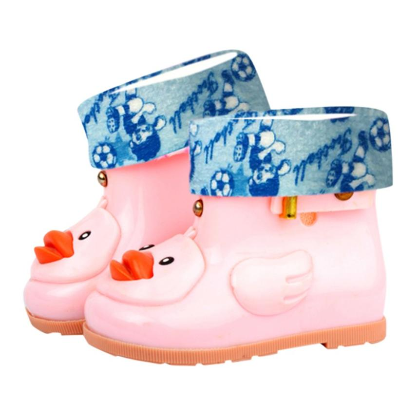 Infant Kids Child Baby Cartoon Duck Rubber Waterproof Warm Boots Rain Shoes BY