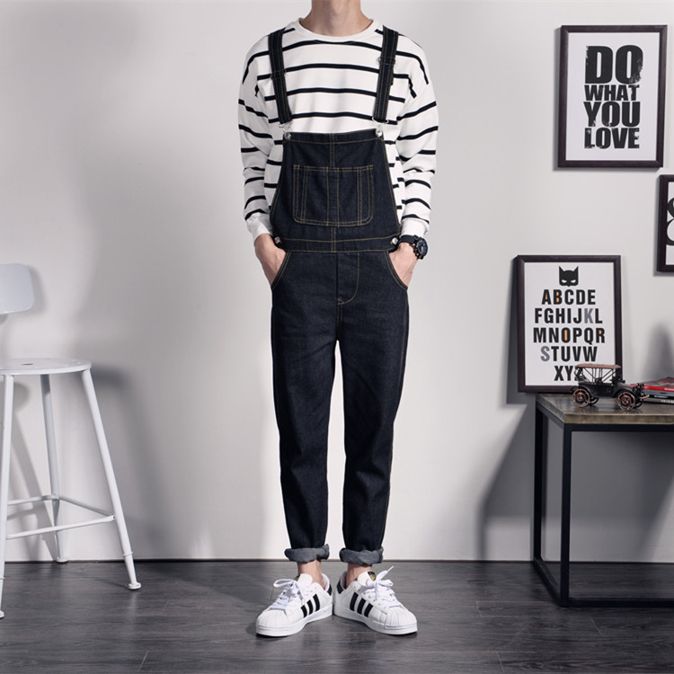 Mens black fashion overalls 44