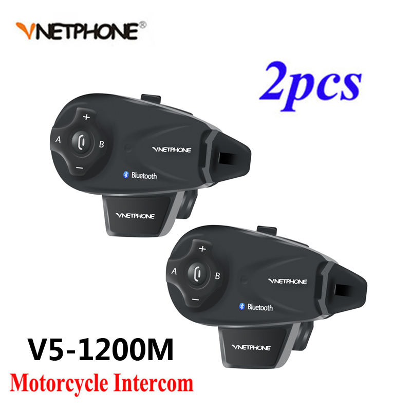 2PCS Vnetphone V5 1200M BT Bluetooth Motorcycle Helmet Interphone For 5 Riders Talk At Same Time Intercom With Headset