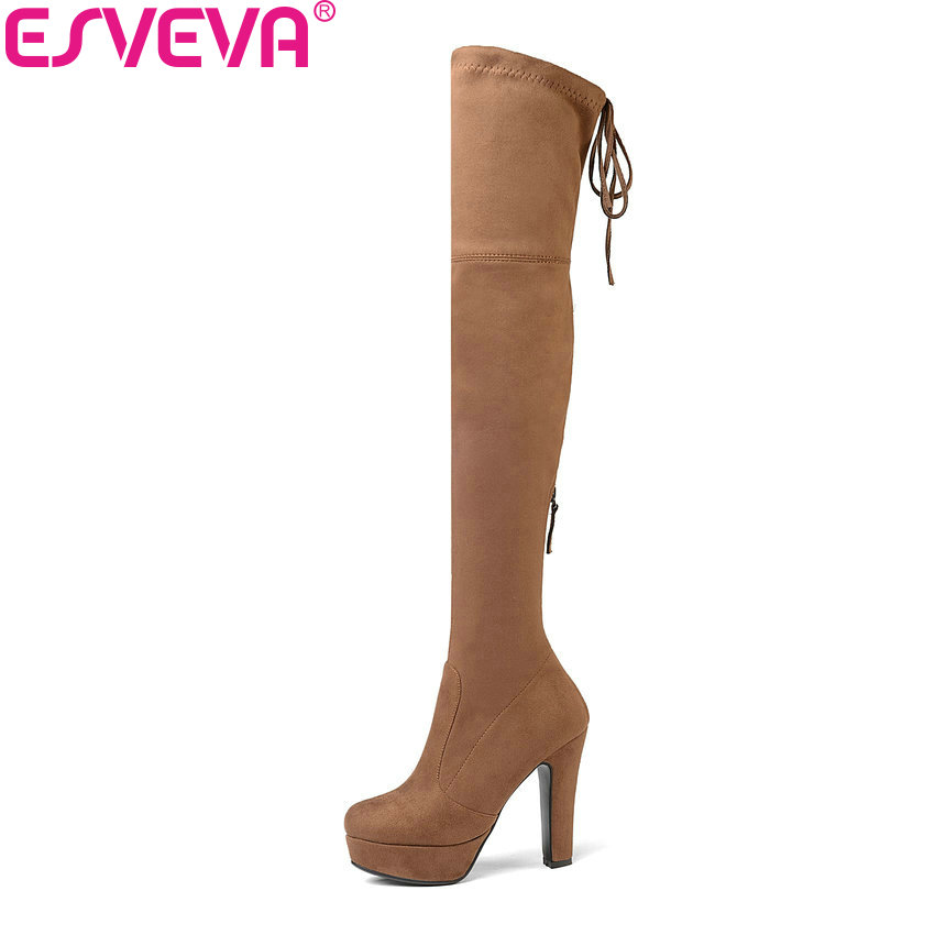 ESVEVA 2019 Women Boots Platform Over The Knee Boots Stretch Fabrics Round Toe High Heels Autumn Shoes Ladies Boots Size 34-43