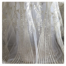 (30 cm/lot) embroidered fabric for sewing sequined beaded mesh Lace fabrics high quality net cloth quilting patchwork DIY