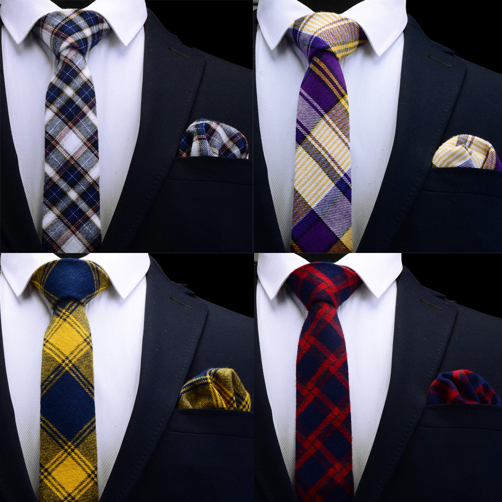 Ricnais Cotton Plaid Slim Tie Set For Men 6cm Skinny Neck Ties Handkerchief Mens Red Blue Yellow Necktie For Wedding Party