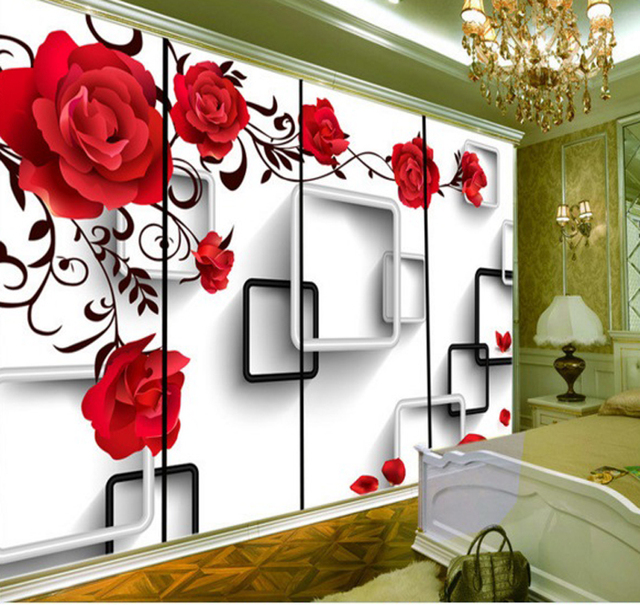 Custom Home Decorating Wallpaper Red Rose Geometric Box Bright Wall Mural Living Room And Tv