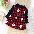 2017 Children Dress Baby Girls Clothes Long Sleeve A-line Dress Winter Thick Warm Velvet Kids Cotton girls dress 1 2 3 4 years