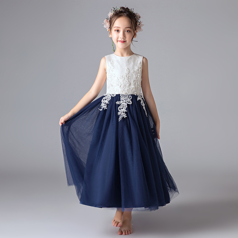 Navy Blue Tulle Scoop Neck Lace A-line Long   Flower     Girl     Dresses   For Wedding   Girls   First Communion Gowns Special Occasion   Dress