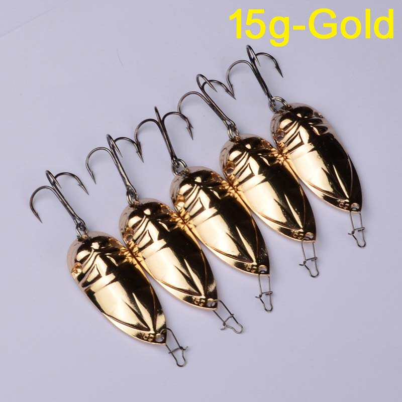 1PC 2018 Spoon Lures Silver Gold Colors Fishing Tackle with 15G Metal Fishing Baits with Hooks Metal Lures 30 in Fishing Lures from Sports Entertainment