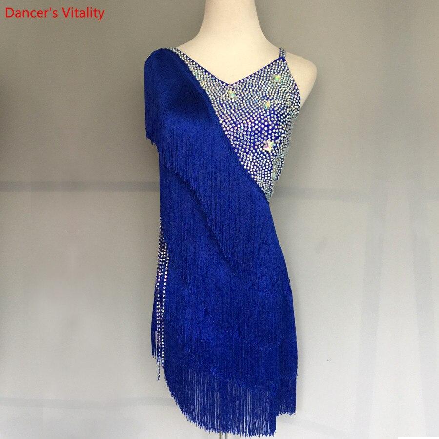 New Diamond Tassel Latin Dance Competition Dress Sexy Backless Women/Girls Latin Dance Ballroom Dance Performance Clothing