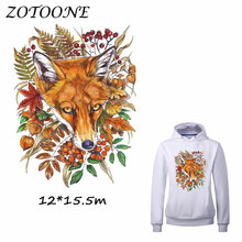 ZOTOONE Flower Fox Patches Iron on Transfers DIY Accessory Decoration Patch for Clothing Print T-shirt Jeans Applique Clothes