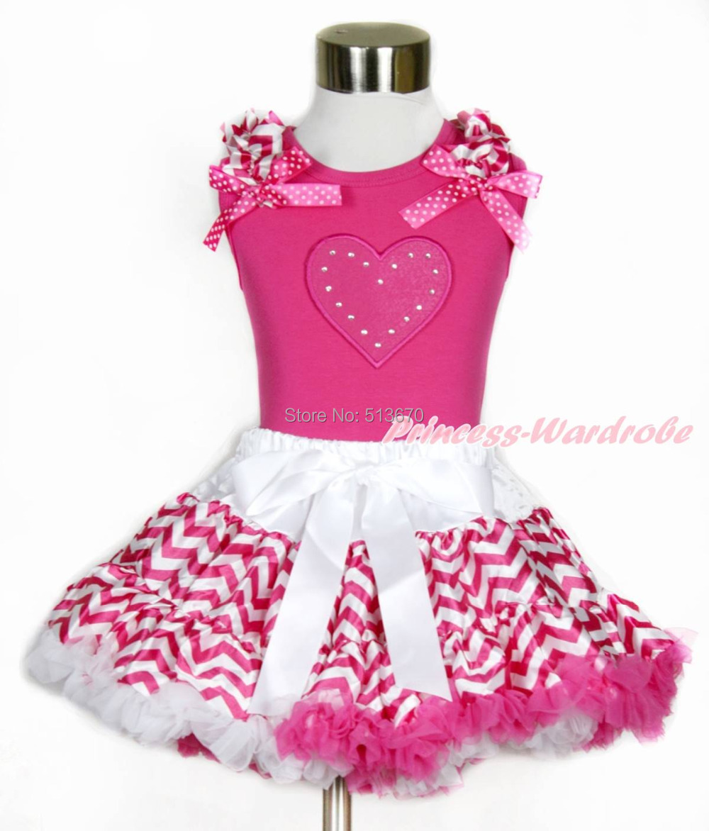 Valentine Hot Pink Heart Top Hot Pink White Wave Stripe Girl Pettiskirt Set 1-8Y MAPSA0202 4th july america flag style stripe pettiskirt white ruffle tank top 2pc set 1 8year mamg1143