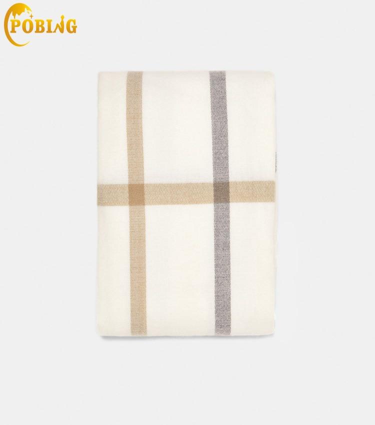 POBING Winter Soft Cashmere   Scarf   Women za Double Plaid   Scarves   Shawl   Wraps   Thicken Warm Unisex Basic Blanket Tassel Pashmina