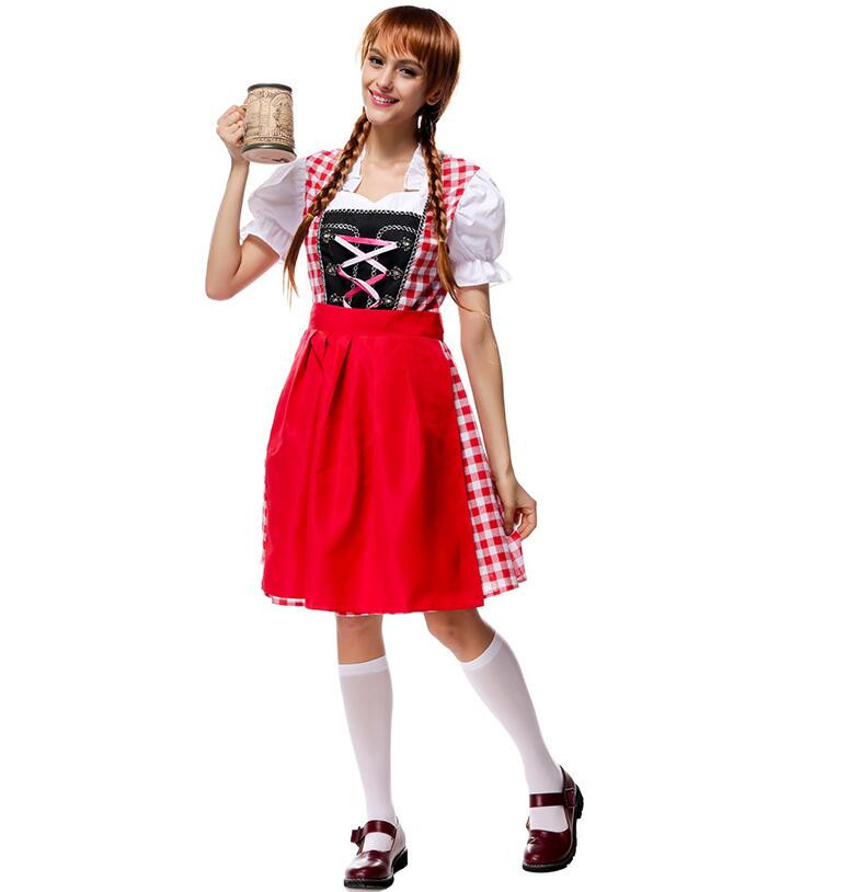 Adult Womens German Beer Girl Costume Fraulein Dirndl Fancy Dress Oktoberfest Maid Costume Halloween Party Outfit