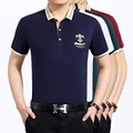 High quality summer men's casual stripes short sleeve business polo shirt