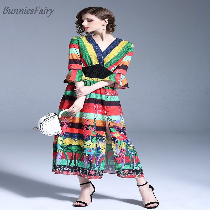 d1f78293ebd BunniesFairy 2018 Summer New Women Multicolored Striped Tropical Plant  Flowers Floral Print Long Maxi Dress Beach Holiday Wear-in Dresses from  Women s ...