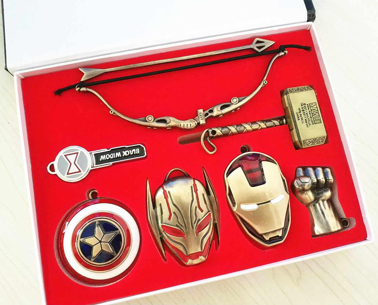 Siêu Anh Hùng Marvel Spider Man Người Sắt vũ khí Di Động Dây Chuyền Móc Chìa Khóa Móc Khóa Vòng Cổ Kim Loại Mặt Dây Chuyền Chìa Cosplay