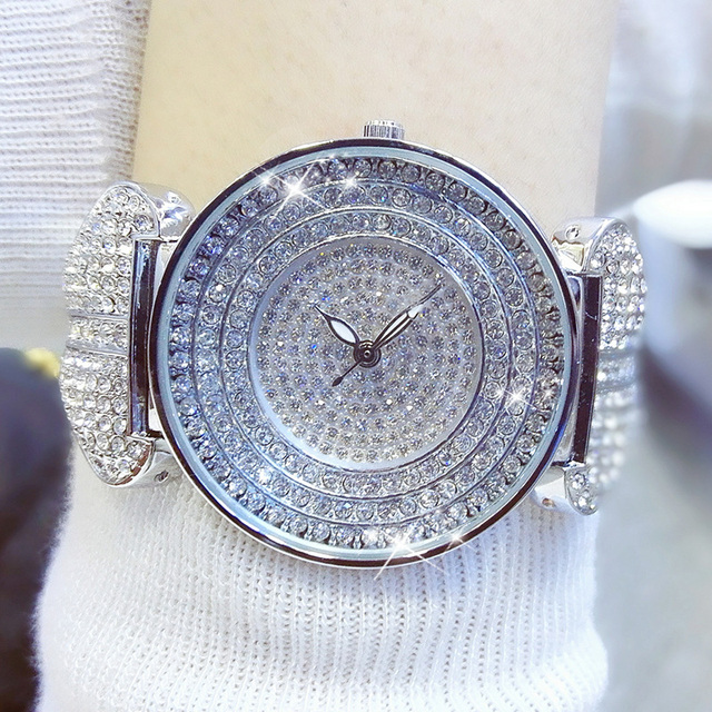 Luxury Brand New Round Ladies Watches Full Diamond Watch Silver Rhinestone Women Designer Wristwatches Bracelet Clock Hours Wach | Fotoflaco.net