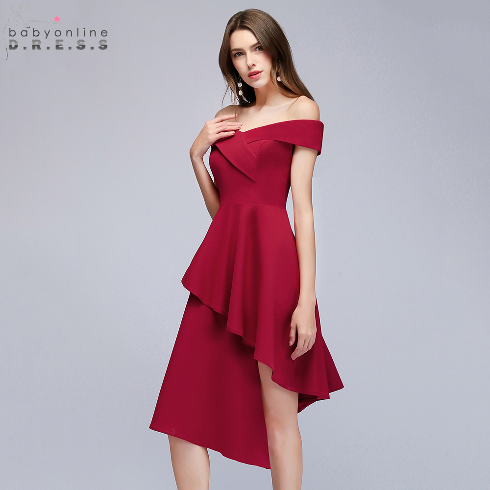 Reflective   Dress   Asymmetrical V Neck Short   Cocktail     Dresses   2019 Tiered Satin Party   Dresses   Women Burgundy   Dress   robe   cocktail