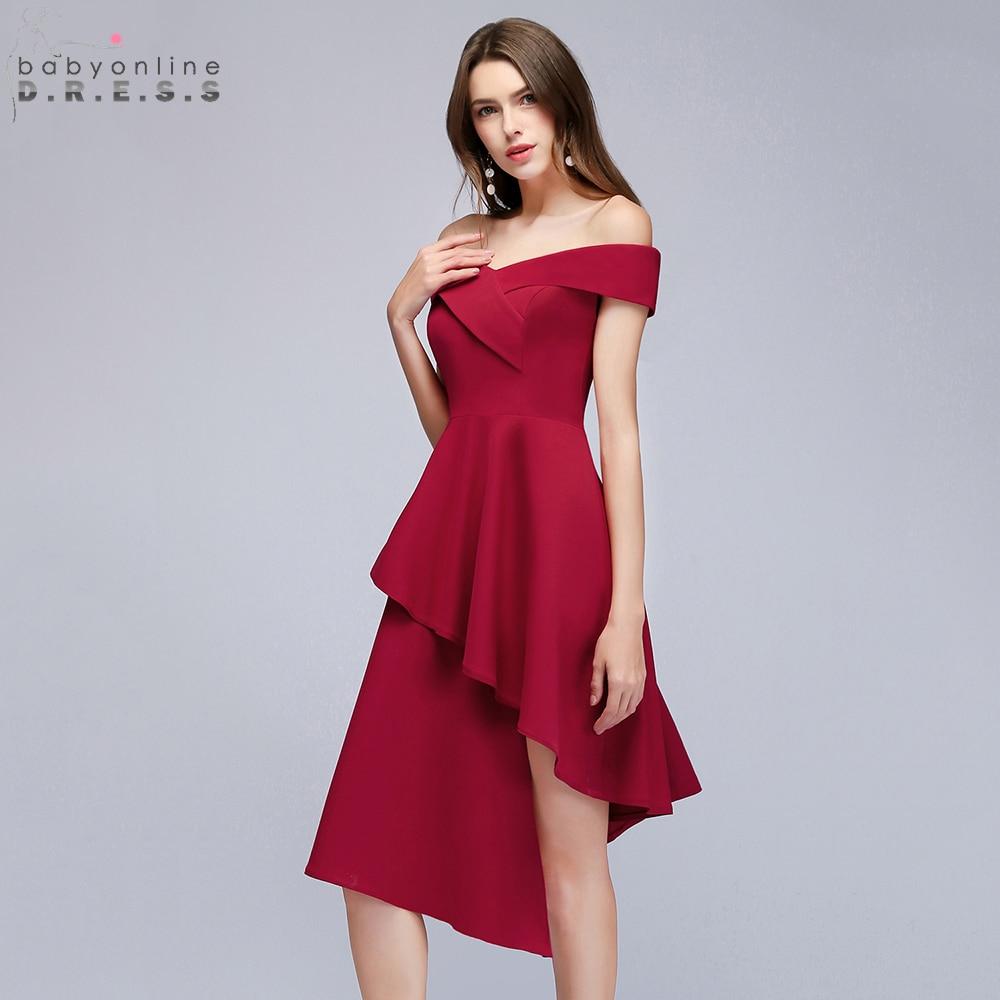 Reflective   Dress   Asymmetrical V Neck Short   Cocktail     Dresses   2019 Tiered Satin Party   Dresses   Women Burgundy   Dress   robe   cocktail