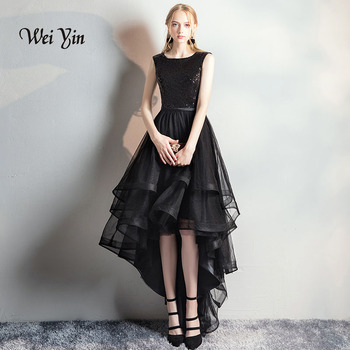 weiyin Robe de soiree Black Elegant O-Neck Short Front Long Back Evening Dresses Sequined Banquet Party Prom Dress WY839