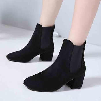 Ladies Short Boots 2018 Women Chunky Heels Ankle Booties Leopard Print Suede Short Boot European Style Flock Shoes Botines Mujer Top