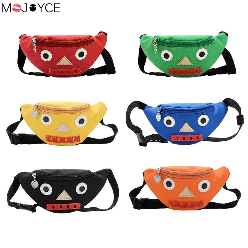 Kid Cute Soild Color Waist Bag Cartoon Robot Kids Casual Nylon Chest Pack Cute Waist Belt Pouch Shoulder Handbags Shoulder Bag