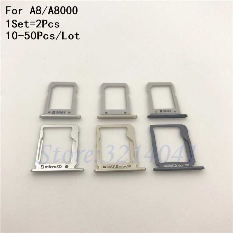 10-50Pcs/Lot New Original Housing SIM Card micro SD Tray Slot Holder For Samsung Galaxy A8 A8000 Repair parts