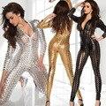 Couro Lingerie Lingerie erótica bodysuit dança ploe SZ781 5 cor Sheer V profundo bodystocking Arrastão sexy lingerie hot