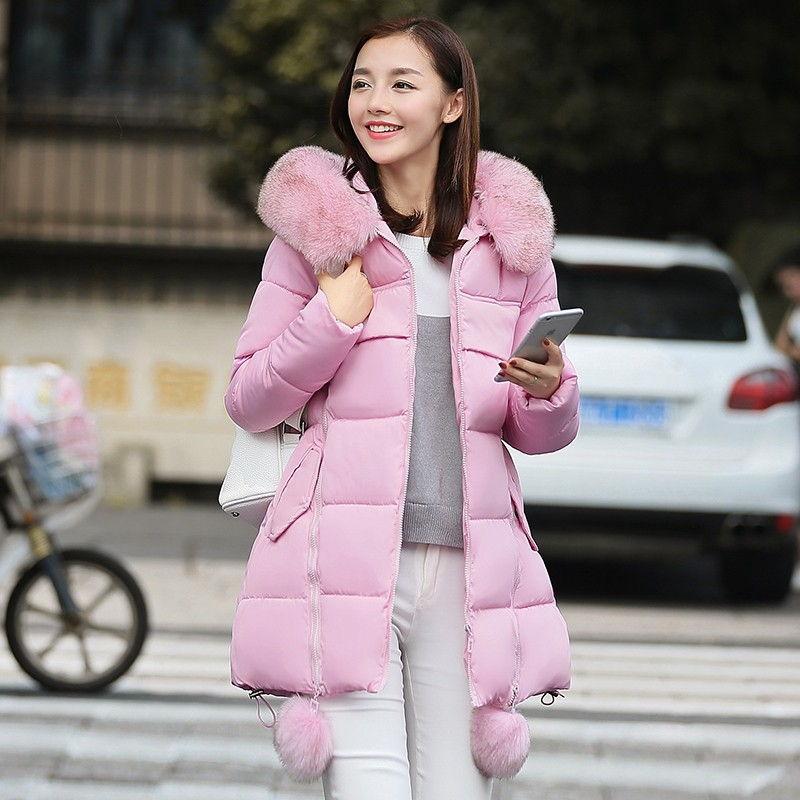 OLGITUM-2016-NEW-Winter-Long-Cotton-Padded-Women-Fur-Collar-Coat-Star-Wadded-Solid-Jacket-Warm (1)