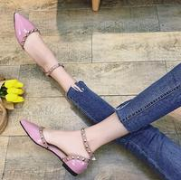 SLHJC Women Summer Autumn Flats Pointed Toe Shallow Mouth Flat Heel Sandals Rivet Shoes Casual Lady