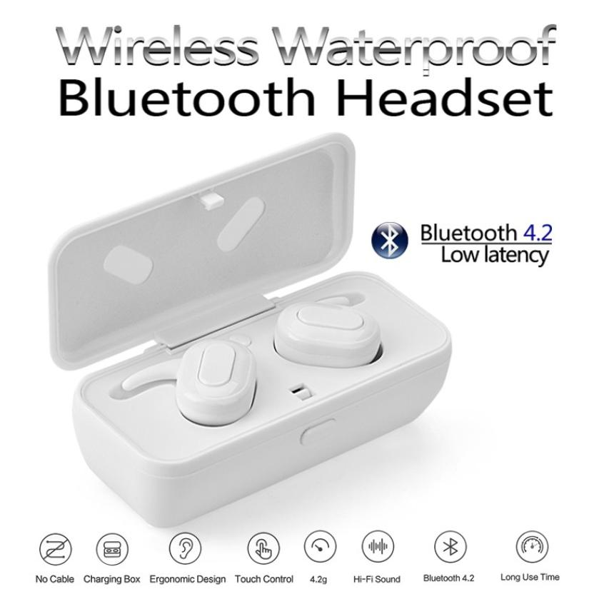 AMTERBEST Wireless Earphones Mini Bluetooth Heahset Stereo Headphone With Mic Earbuds For Iphone font b Xiaomi
