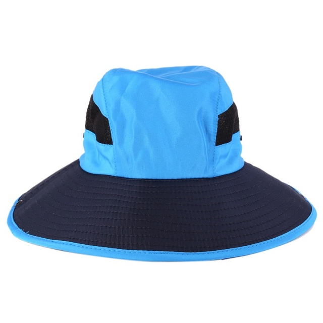 0ed94a384f3 2018 Fisherman Sunshade Hats Wide Brim Patchwork Mesh Bucket CapTravel  Fishing Camping Cool And Breathable Head Accessories