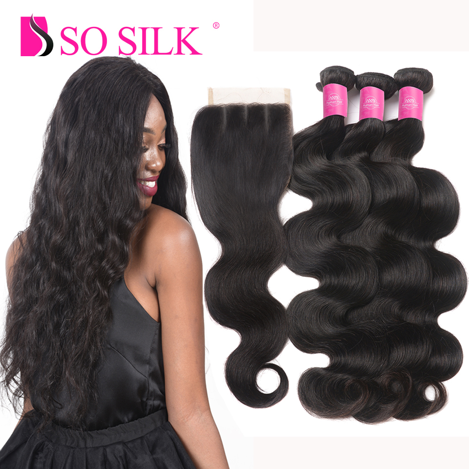 Mink Peruvian Body Wave Bundles With Closure 3 Bundles With Lace Closure Human Hair 3 Part Sosilk Remy Weft Peruvian Body Wave