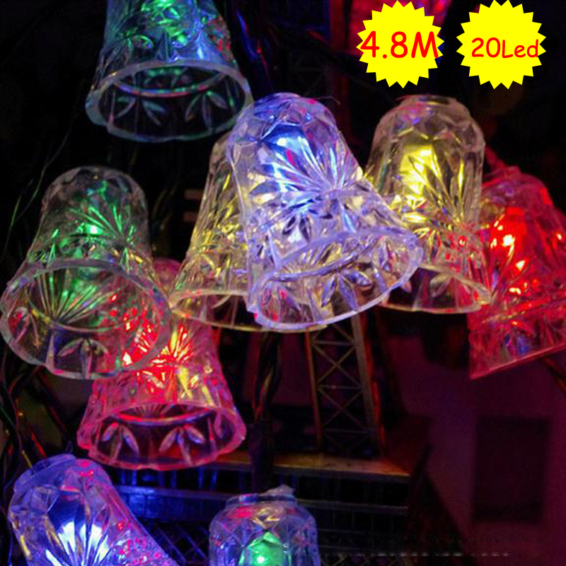 Small Bell Holiday Lighting Solar Powered 4 8m 20 Leds