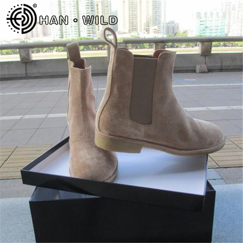 2019 Novos Homens Botas Chelsea 100% Genuínos Ankle Boots de Couro Estilo Do Vintage Crepe Fundo Botas Sapatos de Plataforma dos homens Chelsea 36-47