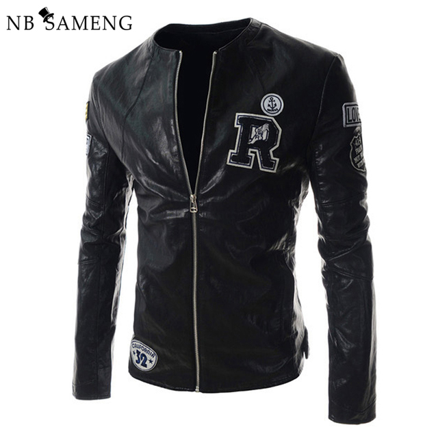 2016 New Fashion Men Slim Fit Motorcycle Leather Jacket Mens Letter Coat Pilot Jackets 2 Colors Jaqueta De Couro 13M0407