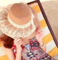 HOT Style freeshipping adult women girls fashion  lace straw sun hat summer beach hat Accessories