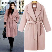 Fashion Belt Long Trench Coat Winter Women Wool Coat L 4XL Plus Size Loose Woolen Coat Ladies Jacket Windbreaker Casaco Feminino