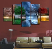 HD Printed Painting Scenery Wall Art room decor 5 panel Tree Painting Four seasons Art Drop Shipping(China)