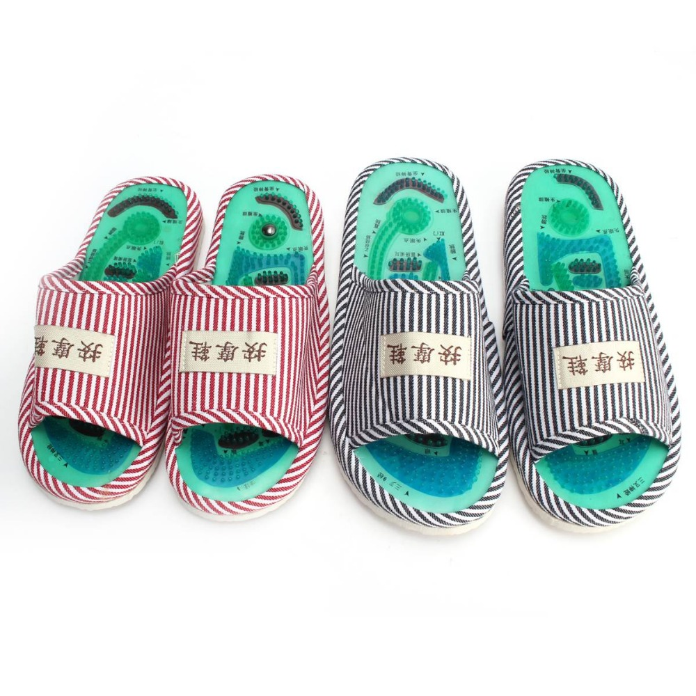 Summer Style Foot Acupoint Massage Shoes Foot Health Care Magnet Therapy Slippers Striped Pattern Indoor Shoes For Women & Men 3