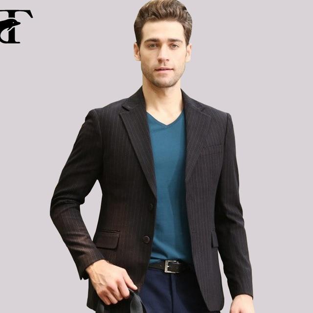 2017 Novo Design de Moda Mens casual Suits Jacket One Button stripe Slim Fit Homens Blazer grande Notch Lapela Lazer Blazer Masculino