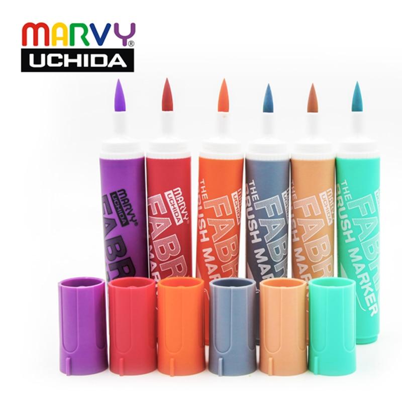 Marvy Markers Pen  722 6Pcs/set Graffiti Fabric Brush Pen Water Resistant Clothing Marker Pen Textile Coloring Creative Pens