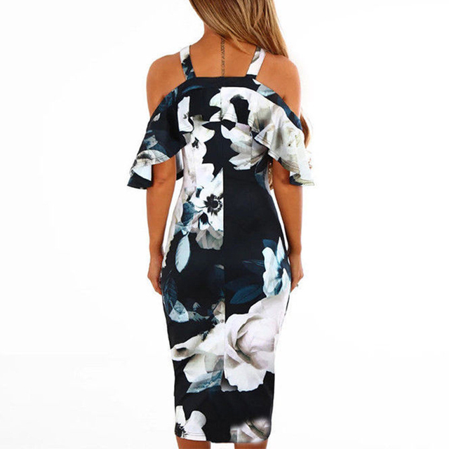 AIEnny Halter Party Dress Female Floral Print Boho Midi Dresses Butterfly Sleeve