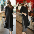0085# Knitted Cotton Maternity Maxi Long Dress 2017 Spring Elegant Double Layer Clothes for Pregnant Women Pregnancy Clothing