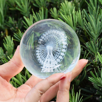 Home Decoration 8cm Crystal Ball 3D Laser Ferris Wheel Building Creative Feng Shui Decorating Glass Ball