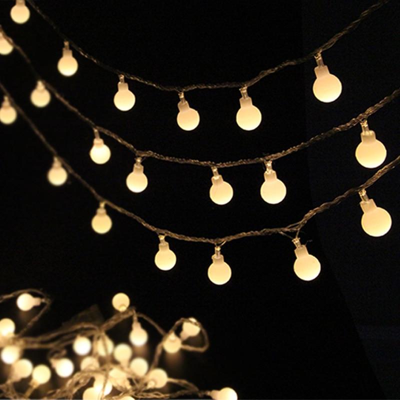Светодиодная светодио дный батарея 1,8 см круглый хлопковый шар батарея струнный свет Праздник Свадьба Рождественская вечеринка Декор праз...