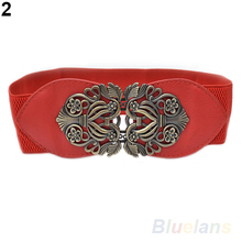 Women Vintage Adjustable Flower Elastic Stretch Buckle Wide Waist Belt Waistband