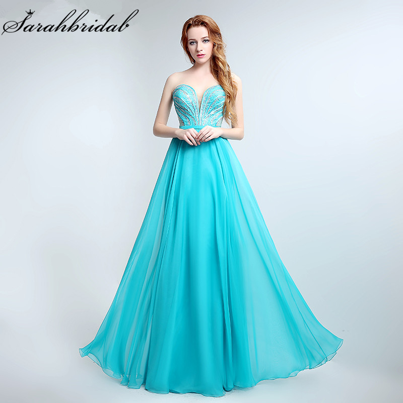 Simple Illusion Corset Long   Evening     Dresses   Real Photo Sweetheart Chiffon Formal   Dress   Party Hot Vestidos De Noche LSX180
