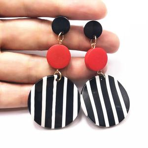 Black White Big Round Earrings for Women Long Dangle Statement Drop Earrings 2019 New Stripe Korean Earrings(China)